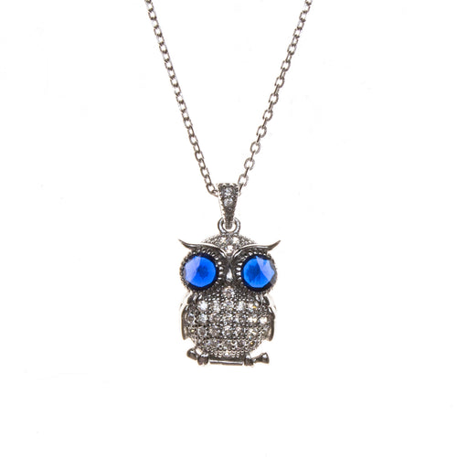 SS Created Sapphire & CZ Owl Necklace
