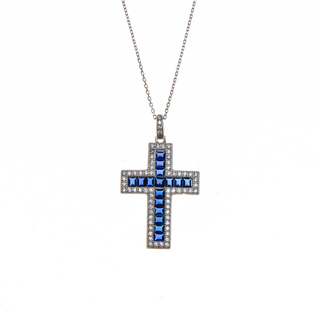 SS Created Sapphire & CZ Cross Necklace
