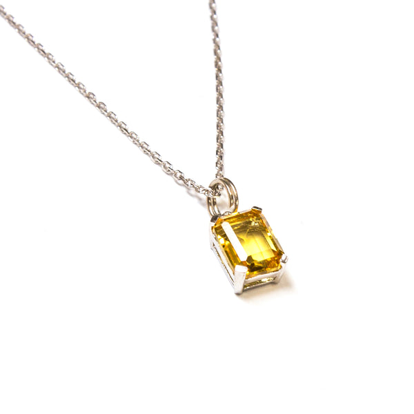 SS Small Created Citrine Rectangle Necklace
