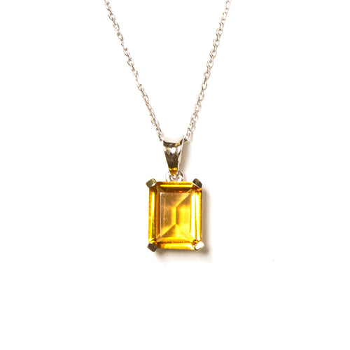 SS Created Citrine Rectangle Necklace