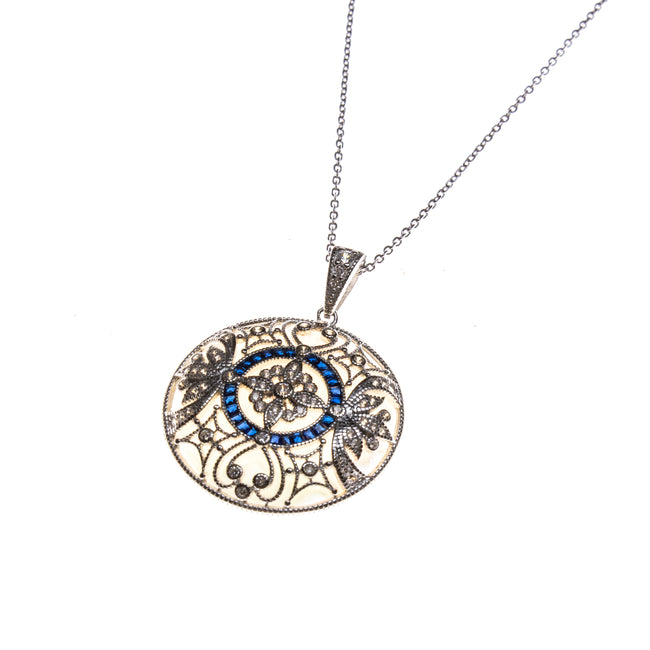 SS Round CZ & Created Sapphire Filigree Pendant Necklace