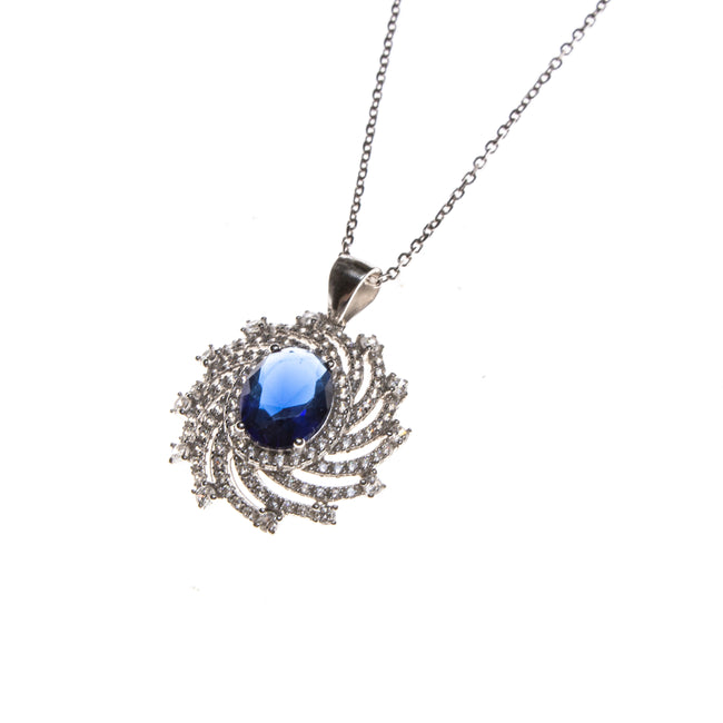 SS Created Sapphire & CZ Pinwheel Necklace