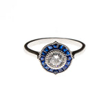 SS Created Sapphire & CZ Pointed Circle Ring