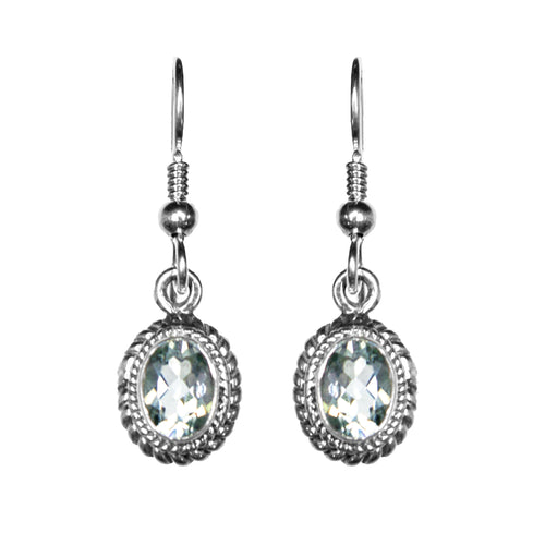 Sterling Silver Green Amethyst Earrings
