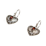 SS Garnet Filigree Heart Earrings