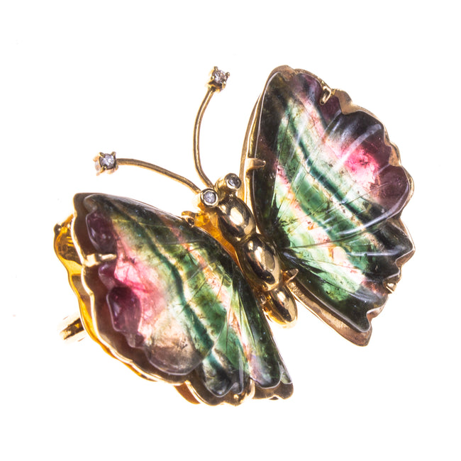 14K Watermelon Tourmaline Butterfly Pin/Pendant