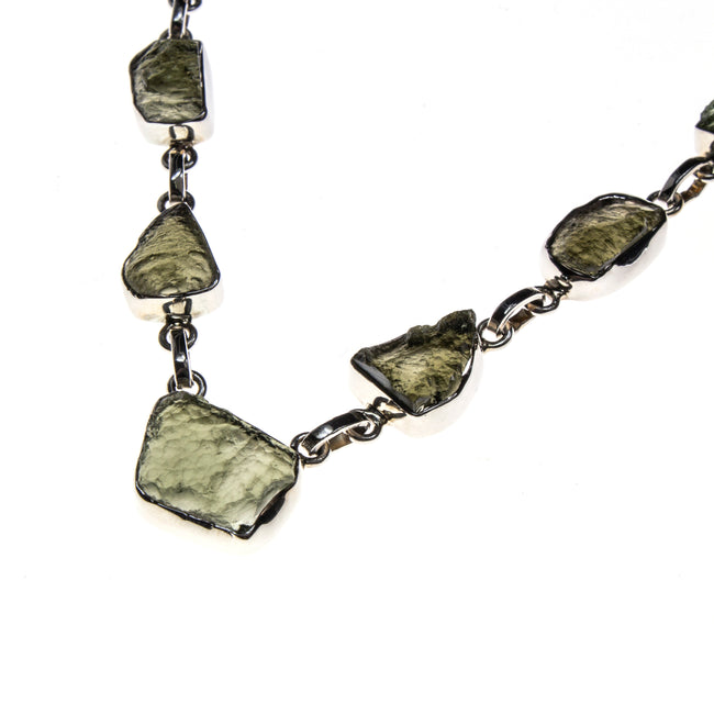 Sterling Silver Moldavite Nugget Necklace