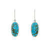 SS Turquoise Ovals with Matrix Bezel Earrings