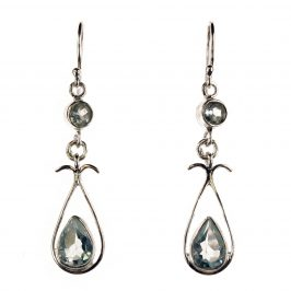 Sterling Silver Dangle Earrings With Pear & Round Blue Topaz