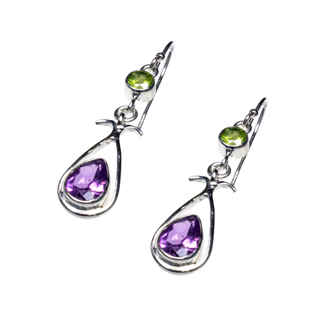 Sterling Silver Amethyst & Peridot Earrings
