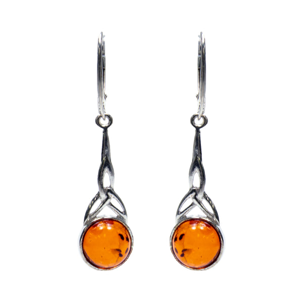 Sterling Silver Amber Celtic Earrings