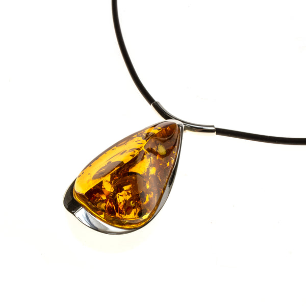 SS Orange Amber Wedge Corded Necklace