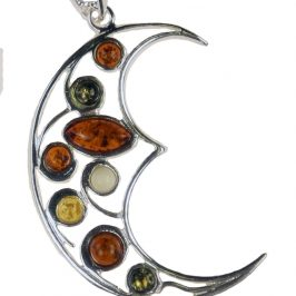 Sterling Silver Amber Crescent Moon Pendant