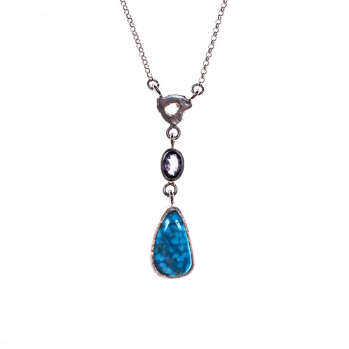 Sterling Silver Larimar and Sapphire Necklace