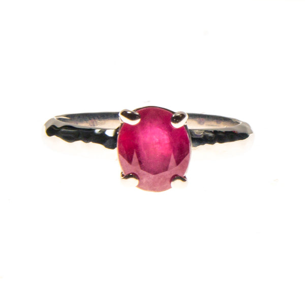 Sterling Silver Ruby Oval Hammered Prong Ring
