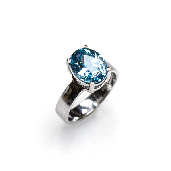 SS Blue Topaz Oval Prong Ring