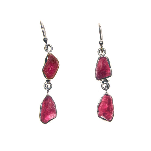 Sterling Silver Rough Ruby Nuggets Bezel Earrings