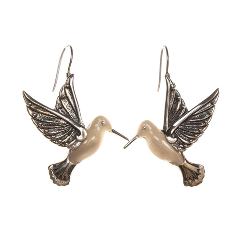 Sterling Silver Fossilized Walrus Ivory Hummingbird Earrings