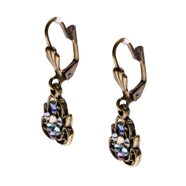 Brass Swarovski Crystal Earrings