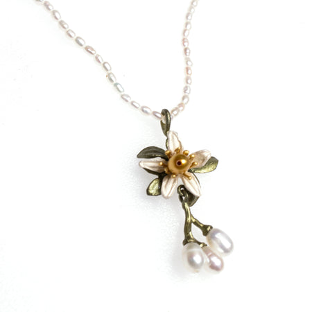 Bronze Gold Plated Keshi Pearl Jasmine Branch Necklace