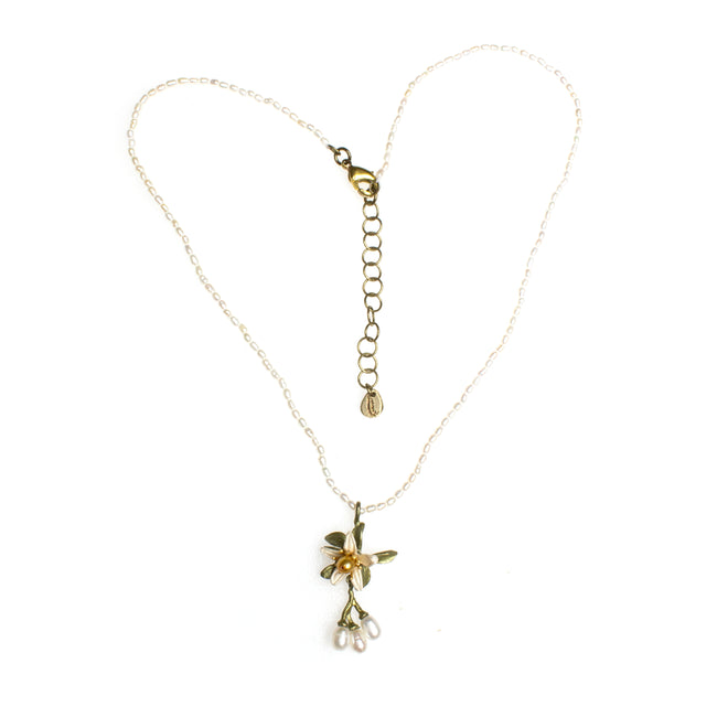 Bronze Patina Gold Plated Flower Blossom Necklace