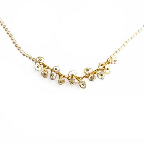 Bronze Gold Plated Keshi Pearl Jasmine Necklace