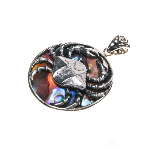 Sterling Silver Abalone Crab Pendant