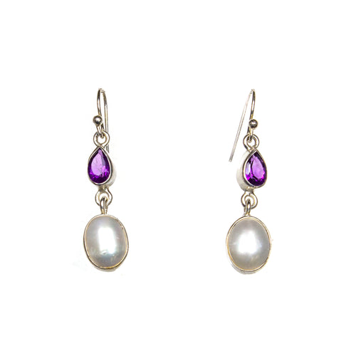 SS Amethyst Pear and Pearl Drop Earrings