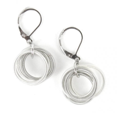 Recycled Piano Wire Loop Earrings in White & Silver