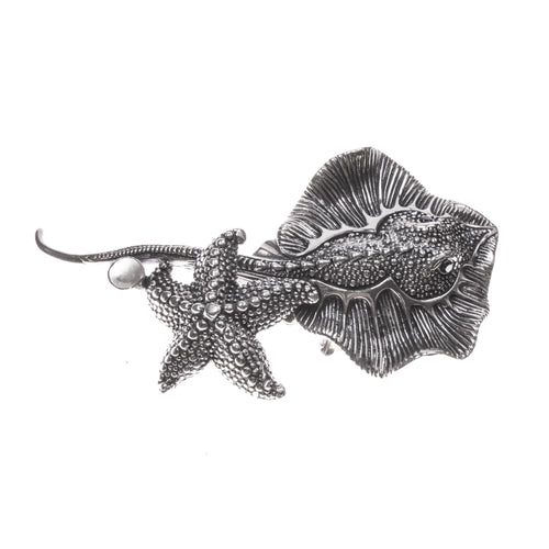 SS Stingray and Starfish Textured Pin/Pendant
