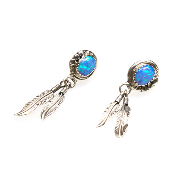 SS Created Opal 2 Feather Drop Earrings