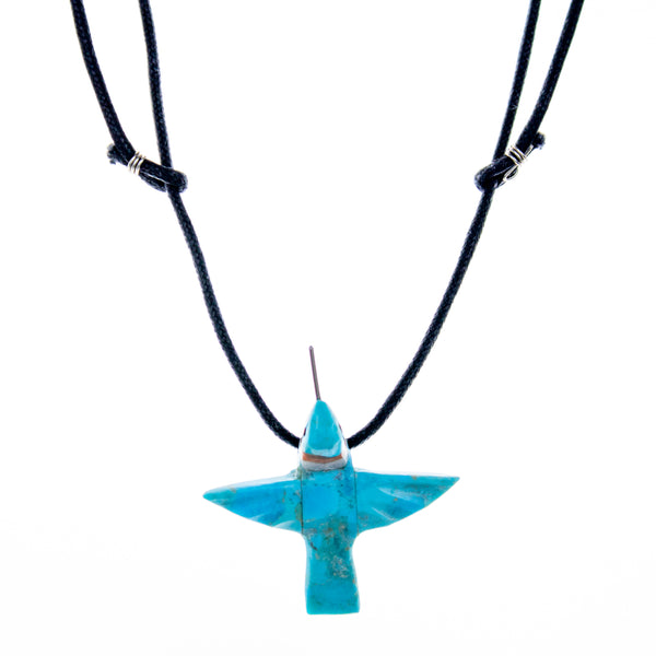 Turqouise Carved Bird Fetish Leather Necklace