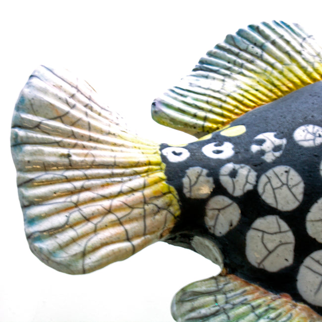 Ceramic Wall Art Raku Clown Trigger Fish