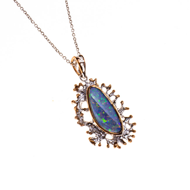 14K Oval Boulder Opal Branch Necklace