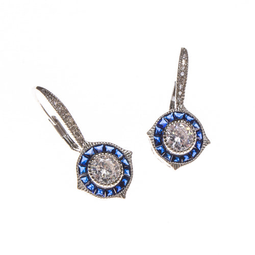SS Created Sapphire and CZ Elegant Earrings