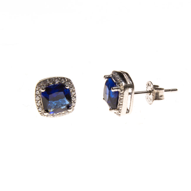 SS Created Sapphire & CZ Square Post Earrings