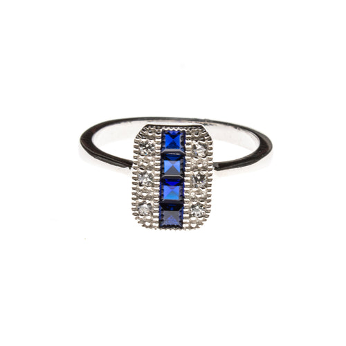 SS CZ & Created Sapphire Stripe Rectangle Ring