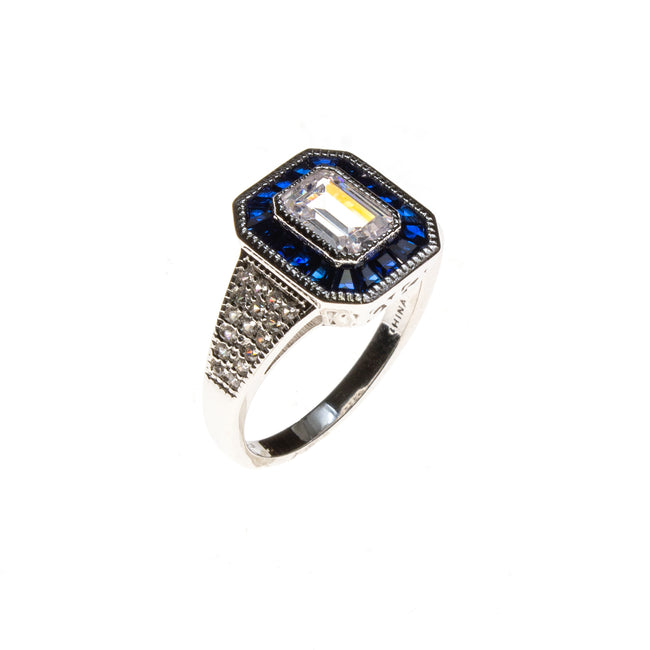 SS CZ & Created Sapphire Rectangle Ring