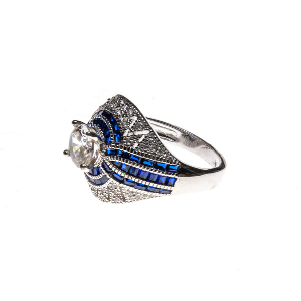 SS Created Sapphire & CZ ZigZag Dome Ring