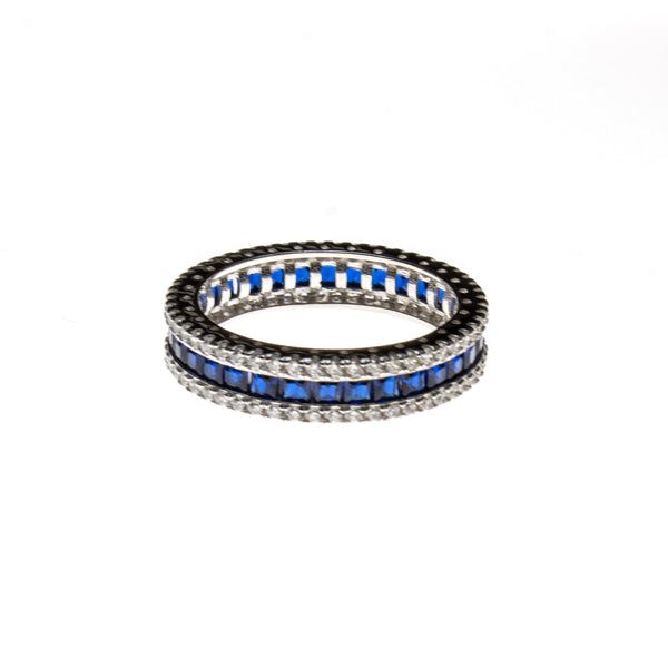 SS Created Sapphire Ring w/ CZ Border