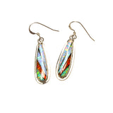 SS Multi-colored Created Opal Inlay Bat Earrings