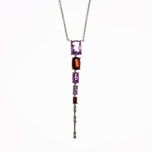 14K Amethyst Garnet Diamond Gradient Necklace