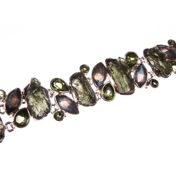 Sterling Silver Rough Moldavite, Peridot, and Labradorite Toggle Bracelet