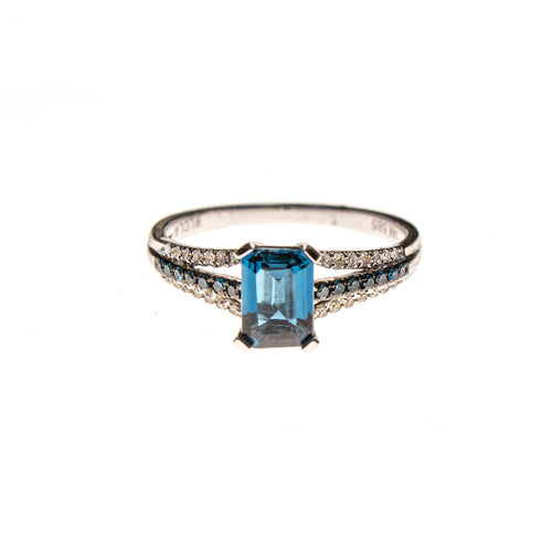 14KW London Blue Topaz Rectangle Ring