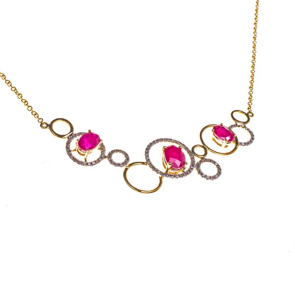 14K Rubies and Rings Necklace