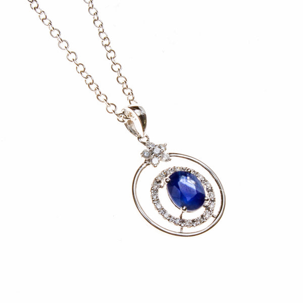 14K Sapphire Concentric Circles and Flower Necklace