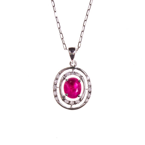14K Ruby Concentric Oval Necklace