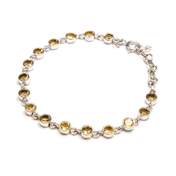 SS Round Faceted Citrine Bracelet