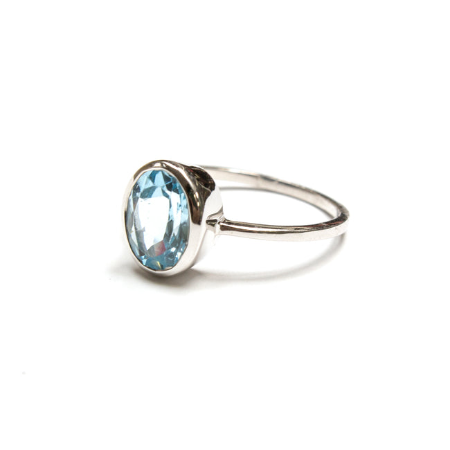 SS 7mm x 9mm Blue Topaz Oval Ring