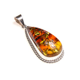 SS Gorgeous Varigated Amber Leaf Pendant